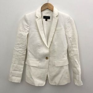 J. Crew 00 Regent Blazer jacket white linen B8430